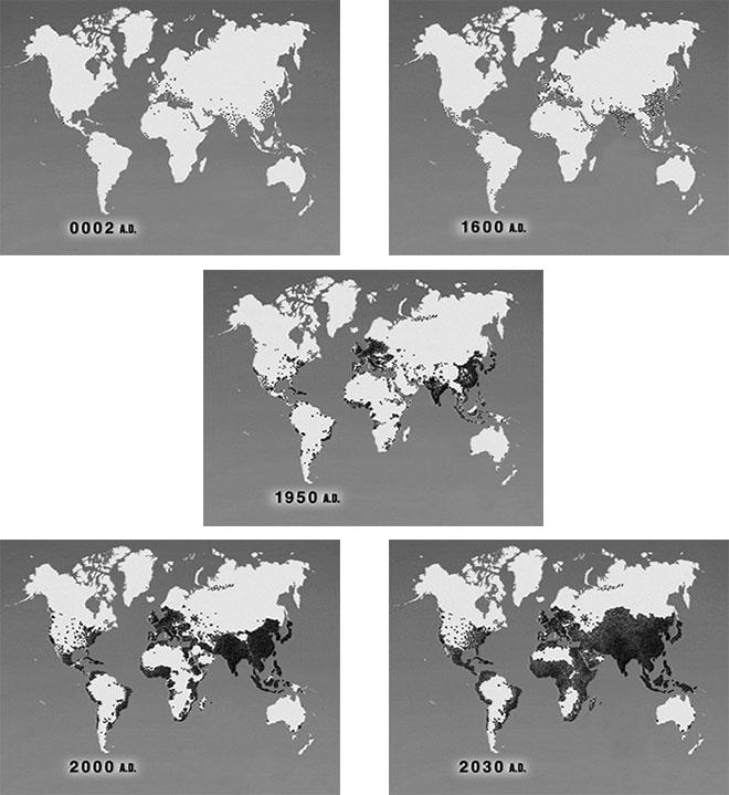 """Figura 3.2 Crecimiento y distribución geográfica de la población humana durante los últimos 2,000 años.Fuente: Video """"World Population"""" Zero Population Growth, Washington, DC.Nota: cada punto representa un millón de personas."""